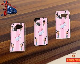 Agnes Unicorn Fluffy Pony Cartoon White Black Clear Samsung iPhone Case