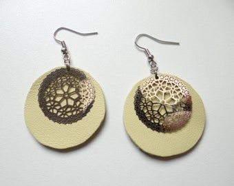 Earrings light yellow leather light and timeless