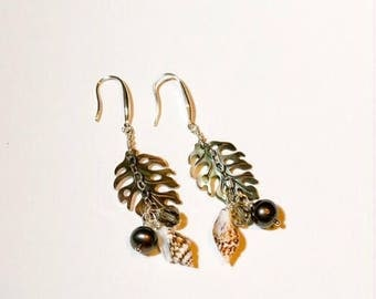 Abalone Shell Monstera Leaf, Dangled Earrings. Hand made in Hawaii