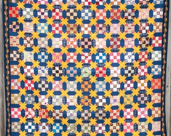 Starts and Nine Patch - Machine Quilted Quilt