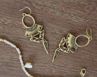Gold Dangle Earrings. Gold earrings. Bohemian. Beautiful earrings