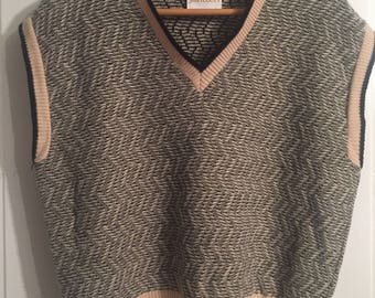Vintage Black and Cream Herringbone Jantzen Sweater Vest