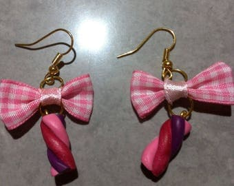 "Pink earrings ""Marshmallow"" fimo Gingham Bow"