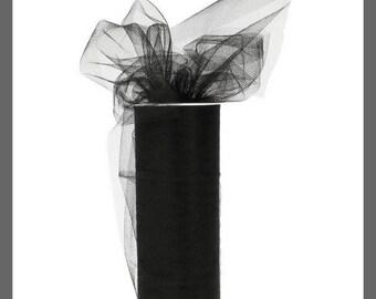 Tulle - Black - 15 cm wide x 20 meters - new