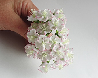 White Sakura or Japanese Cherry Blossoms, Artificial Flowers, Clay Blossoms