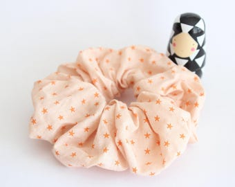 Fabric scrunchies Orange stars fabric ruffles
