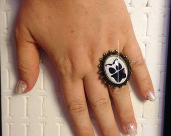 free mail woman mustache bronze Adjustable ring