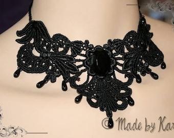Dark Mood black - Halloween Goth Gothic Choker - Black Lace