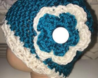 Newborn Beanie/Teal and Cream Crocheted Hat/Flower Decoration/0-3 months baby hat