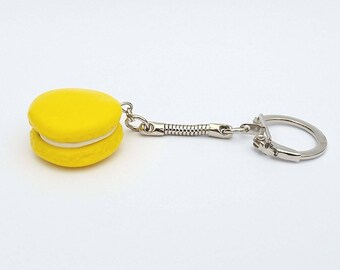 Yellow polymer clay macaroon key chain