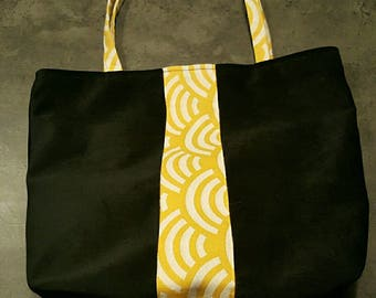 Trendy Black Suede tote bag and yellow Japanese fabric