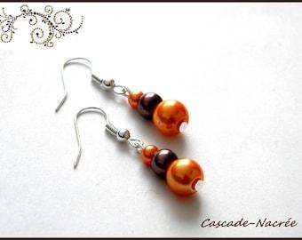 orange brown bridal wedding Pearl Earrings Pearl