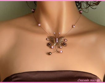 Butterfly bridal pink chocolate Chloe aluminium silver Pearl wedding necklace
