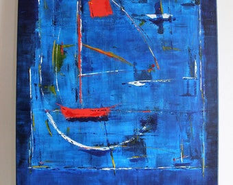 -Red boat - painting 50x70cm