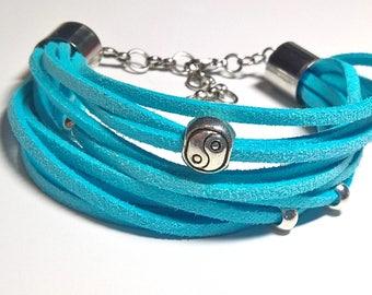 "Bracelet ""Yin-Yang"", A leather bracelet, Bracelet made of suede"