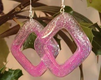 new my creation earrings creole vintage resin