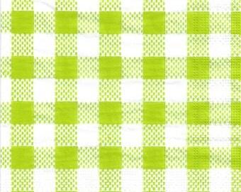 """Set of 3 paper napkins / 33 x 33 cm / """"Vichy"""" vert clair et blanc"""