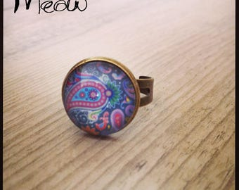 """Psychedelic"" bronze ring in shades of blue"