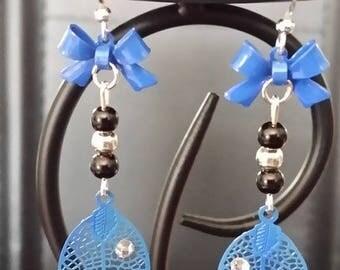 """""""Electric leaf"""" earrings 5.5 cm for pierced ears"""