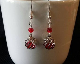 """""""Red Cage"""" earrings 3.5 cm"""