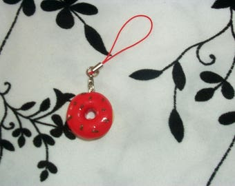 phone charm / strap Strawberry Donuts in fimo