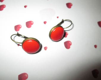 cabochon bronze Stud Earrings red polymer clay