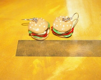 Burger earrings double cheese Fimo