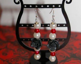 "Dangling earrings ""my black rose"" mod1"