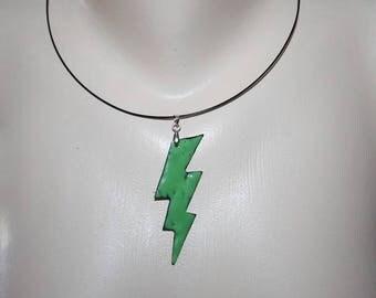 set in enamel on copper pendant and earrings
