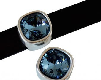 Bead loop Element - for 10mm flat leather - silver and Swarovski Denim Blue - PPMSWCP1017AG0236