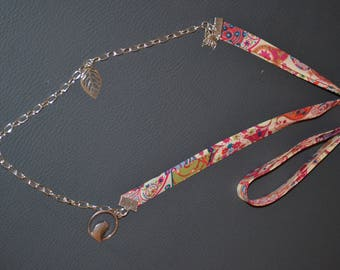 "Liberty necklace and suede - themed ""Bye Bye spring""-salmon tone"