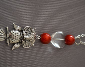 OWL necklace - LOVE with clear beads / red and OWL