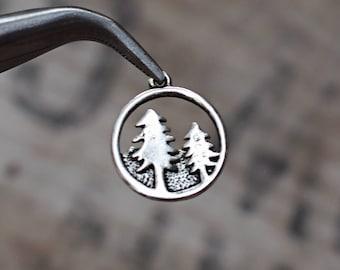 Round Pine Tree Charms pendants -  20x23mm