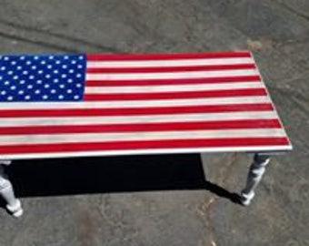 Handpainted American Flag Coffee Table