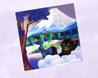folded card with cats a bit surreal: at the foot of Mount Fuji