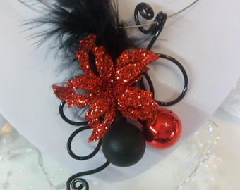 """Mother necklace """"Red Christmas flower"""" unique!"""