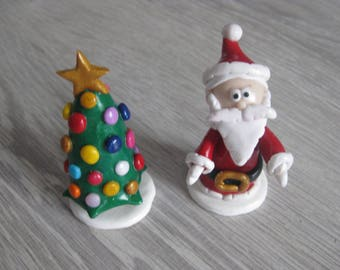 Santa Claus and Christmas tree in Fimo (made to order)