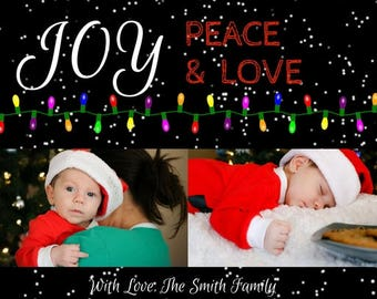 Joy Peace and Love Christmas card