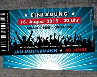 Einladung zum 40. Geburtstag: Ticket