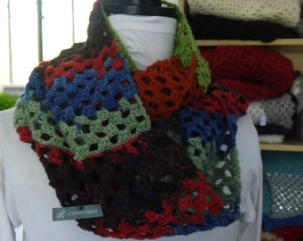 Snood crocheted wool colors