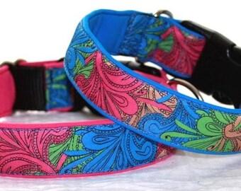 "Dog Collar Jacquard Ribbon Elegant ""Flowery Spring""  Design"