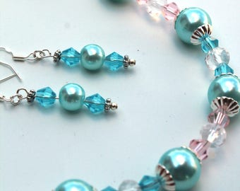 Teal and Pink Necklace and Earring set
