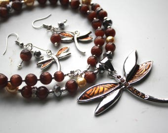 Brown and Silver Dragonfly Necklace and Earrings