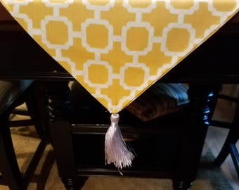 Bright yellow and white Table Runner/Dresser Scarf
