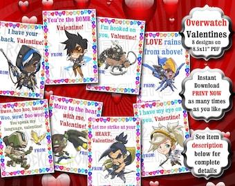 Overwatch Class Valentines PRINTABLE, Overwatch Classroom Valentines, Gamer Valentines, Anime Valentines, Valentines For Kids, Class Party