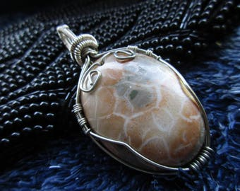 Handmade Wirewrapped Fossilized Coral Pendant