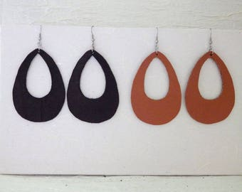 Leather and stainless steel earrings