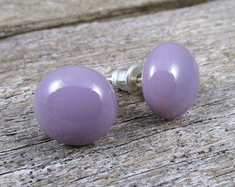 Dusty Lilac Post Earrings Lilac Stud Earrings Sterling Silver Stud Earrings Modern Minimalist Studs Pastel Studs