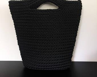 Handmade Black Knitted Bag Tote