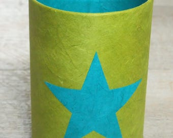 Pencil holder (No. 126) lime green & turquoise